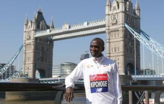 Men's elite runner Ethiopia's Kenenisa Bekele poses during a photocall for the London marathon by Tower Bridge in central London on April 19, 2018.