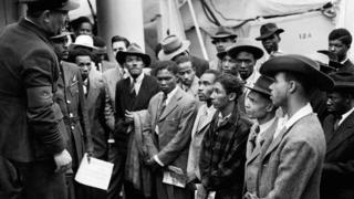 Jamaican immigrants from the Empire Windrush at Tilbury on 22 June 1948