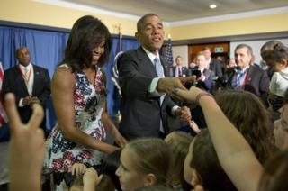 US President Barack Obama and First Lady Michelle Obama greet children of US embassy staff in Havana
