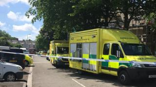Ambulance and police cordon