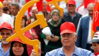 Irak'ın başkenti Bağdat'ta Komunist Parti'nin yürüyüşü