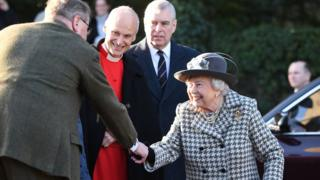 The Queen arriving at St Mary the Virgin, Hillington, Norfolk