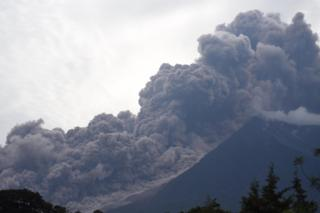 The Fuego Volcano in eruption, seen from Alotenango municipality