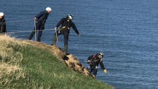 RSPCA abseilers rescue gannet on Bempton Cliffs