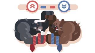 Bull and bear cartoon