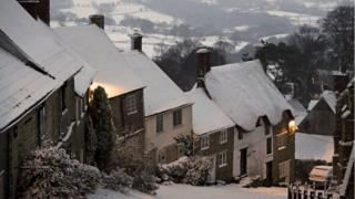 White rooftops were seen in Gold Hill, Dorset.