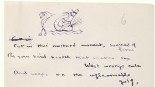 Dylan Thomas manuscript with drawing