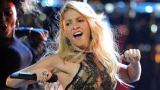 Shakira performing in Las Vegas, 2011