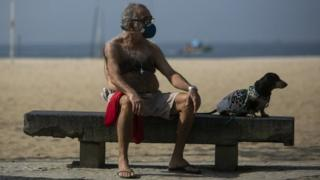 A man wearing a mask sits on a bench with his dog on Rio de Janeiro's Copacabana beach, Brazil. Photo: 17 May 2020