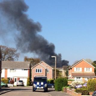 Smoke from the fire at Nuffield Industrial Estate