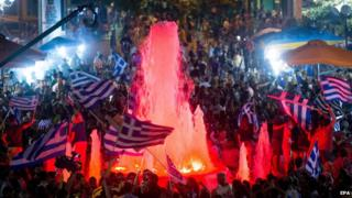 Greeks celebrating referendum result