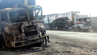 Suriye'de vurulan konvoy.