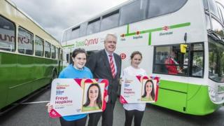 Carwyn Jones with Charlotte Wilson Davies and Amelia Evans