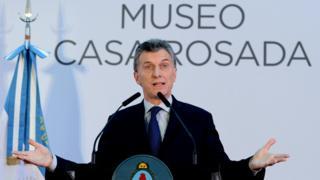 President Mauricio Macri at the re-opening of the Casa Rosada Museum