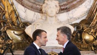 Emmanuel Macron and Mauricio Macri at the Casa Rosada presidential palace - 29 November