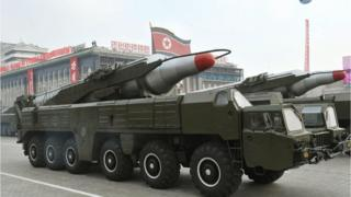 "A file photo dated 4 October 2010 and made available by the North Korean Central News Agency (KCNA) shows a ""Musudan"" missile displayed during a military parade marking the 65th anniversary of the foundation of the Workers' Party of Korea, in Pyongyang, North Korea"