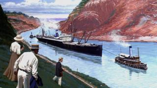 Un dibujo representa el S.S. Ancón, el primer barco que pasó por el Canal de Panamá, en agosto de 1914.