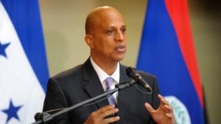 Belize's PM Dean Oliver Barrow in Tegucigalpa on 7 November, 2012.