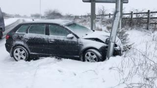 Crashed car on A30 slip road near Okehampton on 18 March 2018