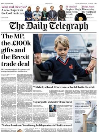 Daily Telegraph front page 08/09/17