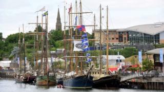 Tall Ships moored in Sunderland