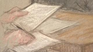 Court drawing of note taking in courtroom
