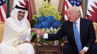Katar Emiri Şeyh Temim bin Hamad es-Sani' ve Donald Trump