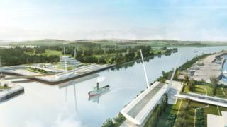 An artists' impression of the 184m bridge over the Clyde