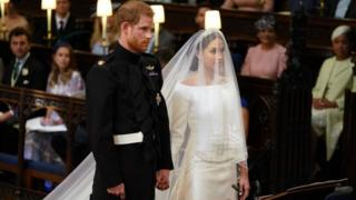 "Prince Harry and Meghan Markle in St George""s Chapel at Windsor Castle"