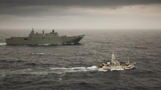 Australian authorities intercepted the vessel off Tasmania