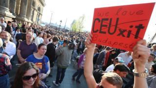 Protestas en Budapest.