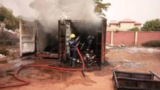Fire at INEC office