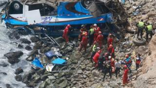 A handout photo made available by Agencia Andina shows a group of emergency personnel working to rescue victims after a passenger bus plunged off the Pan-American Highway North, about 45 kilometers from Lima, Peru, 02 January