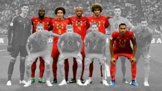 Alineación inicial del equipo belga que jugó contra Brasil, en los cuartos de final.