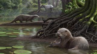 Artist impression of the huge otter