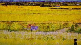 Mulher observa quadro de Van Gogh