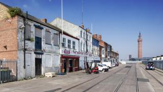 View of shops in Grimsby Docks