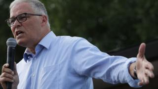 Jay Inslee speaks at the Iowa state fair