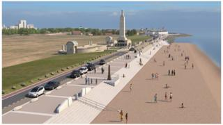 Artist's impression of widened beach and other defences at Southsea Common