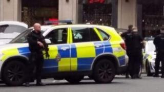 Armed police in Leeds city centre