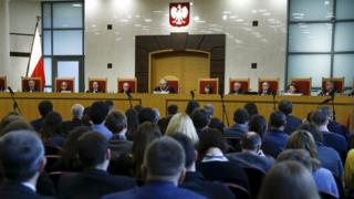 Judges of Poland's Constitutional Court attend session in Warsaw