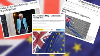 Combo picture of online publications about Brexit