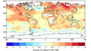 2015年には世界各地で平均値を大幅に上回る気温が観測された。(図は平均値からの変動幅を色で示した。赤が大きく上昇した地域)