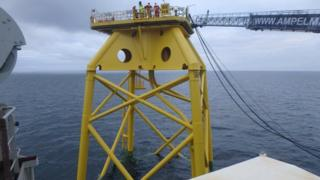 Jacket being installed for Beatrice Offshore Windfarm