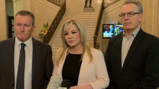 Sinn Fein MLAs Conor Murphy, Michelle O'Neill and Gerry Kelly