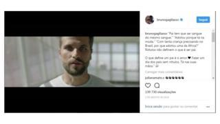 Post de Bruno Gagliasso sobre adoção da filha, alvo de comentários racistas nas redes sociais