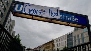 The name of Mohrenstrasse subway station has being changed to George Floyd Strasse on June 4, 2020, in solidarity with protests raging across the United States