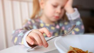 Child holding fork at the dinner table