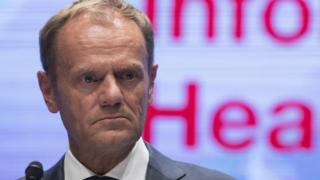 President of European Council Donald Tusk speaks during a press conference at an Informal Summit of Heads of State or Government in Salzbur
