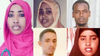 Maryam Abdullahi (Left), Fa'iso Hassan Ali (Top middle), Suleiman Nuur Ali (Right top), Asad Abdi Abiid (Bottom middle), Bureeqo Abdullahi Adan (Right bottom